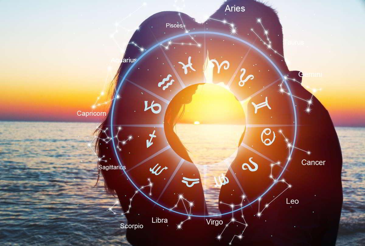 zodiaco con coppia sullo sfondo